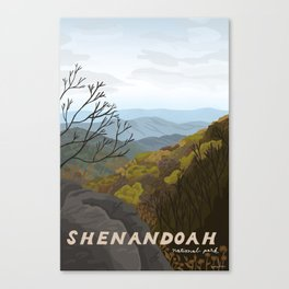Shenandoah National Park, Virginia, Shenandoah River, Retro Vintage Style Poster Canvas Print