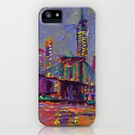 New York City Lights - palette knife painting abstract manhattan skyline Brooklyn bridge iPhone Case