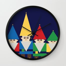 Elves on Blue Wall Clock