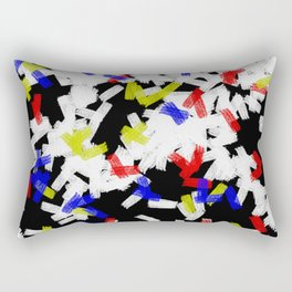 Primary Strokes - Abstract, primary colour & black and white raw paint brush strokes Rectangular Pillow