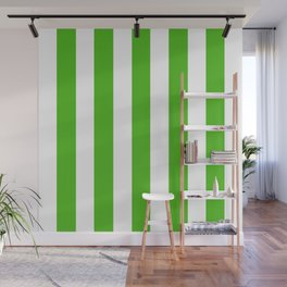 Kelly green - solid color - white vertical lines pattern Wall Mural