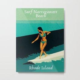 Surf Narragansett Beach, Rhode Island Vintage Surfing Big Swell Poster - New England Surfers Metal Print