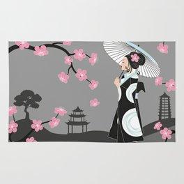 Japanese Geisha under Cherry Blossoms Rug