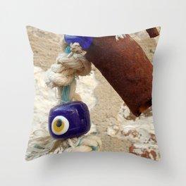 evil eye bead Throw Pillow