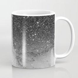 Stylish faux black glitter ombre white marble pattern Coffee Mug