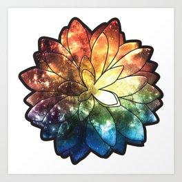 Rainbow Galaxy Succulent Art Print