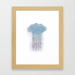 Rain in the woods Framed Art Print