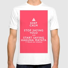 Keep Calm Forget YOLO MEDIUM Mens Fitted Tee White