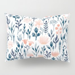 Watercolor Pastel Pink and Blue Floral Pillow Sham