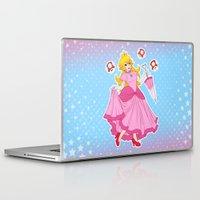 princess peach Laptop & iPad Skins featuring PRINCESS PEACH by Laurdione