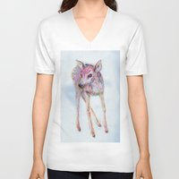 fawn V-neck T-shirts featuring Fawn by Anna Dunlap Hartshorn