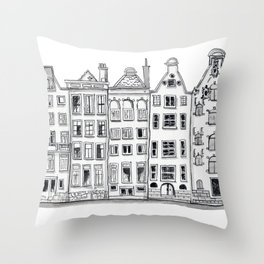 Amsterdam Canal Houses Sketch Throw Pillow
