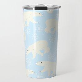 Polar Bear Snow Flake Pattern Travel Mug