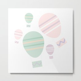 Hot Air Balloon, Pastel Pinks and Greens Metal Print