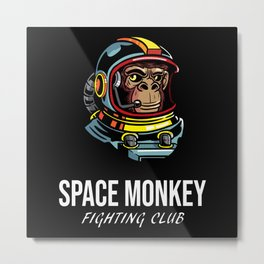 Space Monkey Fighting Club Astronaut Boxing Club Metal Print