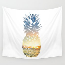 Sunset Beach Pineapple Summer Tropical Wall Tapestry