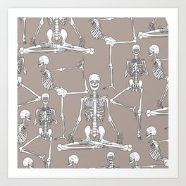 Skeleton Yoga Grey Art Print