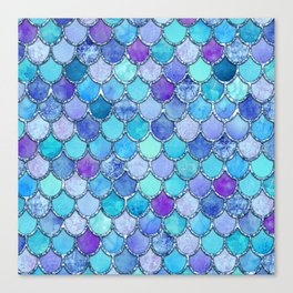Colorful Blues Mermaid Scales Canvas Print