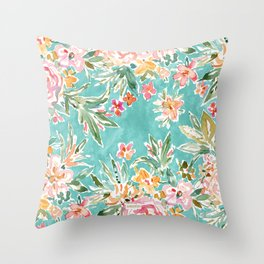 SELF MADE Colorful Aqua Floral Throw Pillow