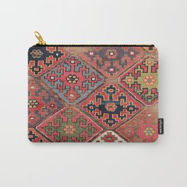 Rosettes Diamond and Stars // 19th Century Colorful Red Black Dusty Blue Space Ornate Accent Pattern Carry-All Pouch