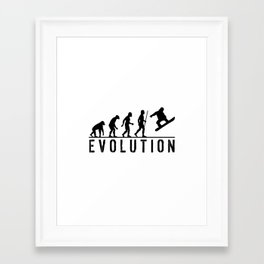 The Evolution Of Man And Snowboarding Framed Art Print
