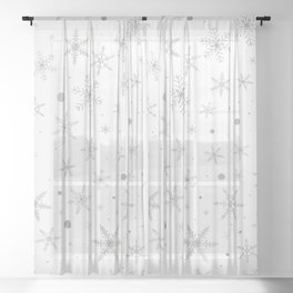 Twinkle Snowflake -Silver Grey & White- Sheer Curtain