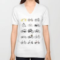 bicycles V-neck T-shirts featuring Bicycles by MuDesignbyMugeBaris