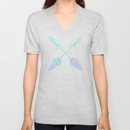 Tribals Arrows Turquoise on Gray Black Unisex V-Neck