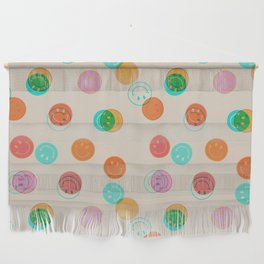 Smiley Face Stamp Print Wall Hanging