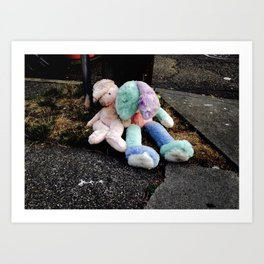 Abandoned Stuffed Animals in Seattle Art Print