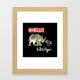 New Friend Rhino Funny Bulldog-Hello Stranger Framed Art Print