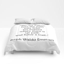 Ralph Waldo Emerson Quote - Leave a trail Comforters
