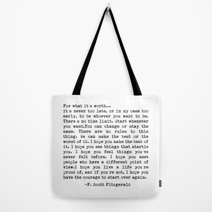 F. Scott Fitzgerald Tote Bag