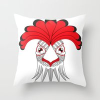 cock Throw Pillows featuring Cock by HandeAylan