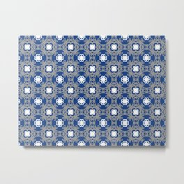 Blue white and grey square floral Metal Print