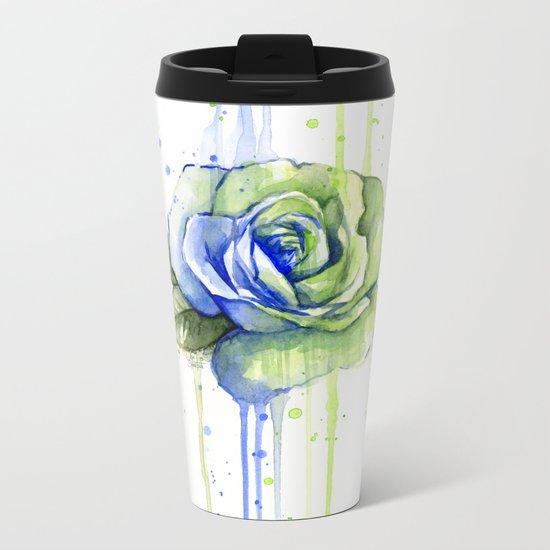 Flower Rose Watercolor Painting 12th Man Art Metal Travel Mug