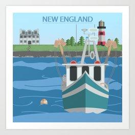 New England Fishing Boat Art Print