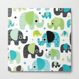 Cute little elephant parade - illustrated pattern Metal Print