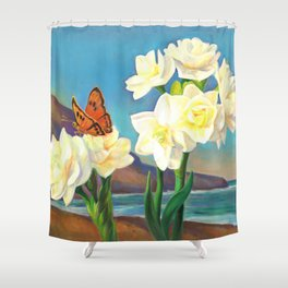 A Morning Greeting From Narcissus Flowers Shower Curtain