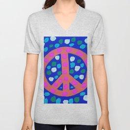 Orange Peace Symbol on Blue Unisex V-Neck