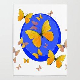 YELLOW BUTTERFLIES SWARM & BLUE RING MODERN ART Poster