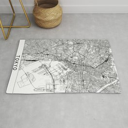 Tokyo White Map Rug