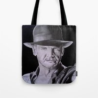 indiana jones Tote Bags featuring Harrison Ford (Indiana Jones) by Andulino