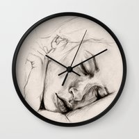 sleep Wall Clocks featuring SLEEP by Joelle Poulos
