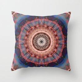 Mandala Glitch Wheel Throw Pillow