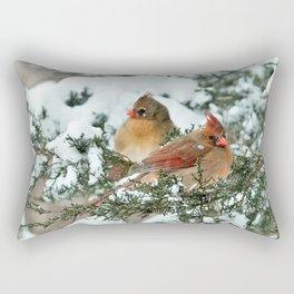 After the Snow Storm: Three Cardinals Rectangular Pillow