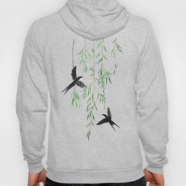 green willow leaf and swallow watercolor Hoody