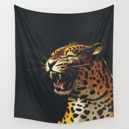 Roaring Leopard Retro Vintage Animal Art Wall Tapestry