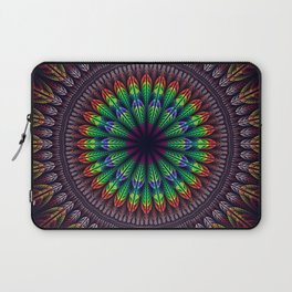 Colorful fantasy flower and petals mandala Laptop Sleeve