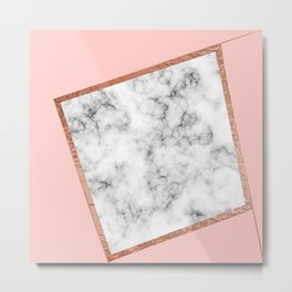 Pink and white marble Metal Print